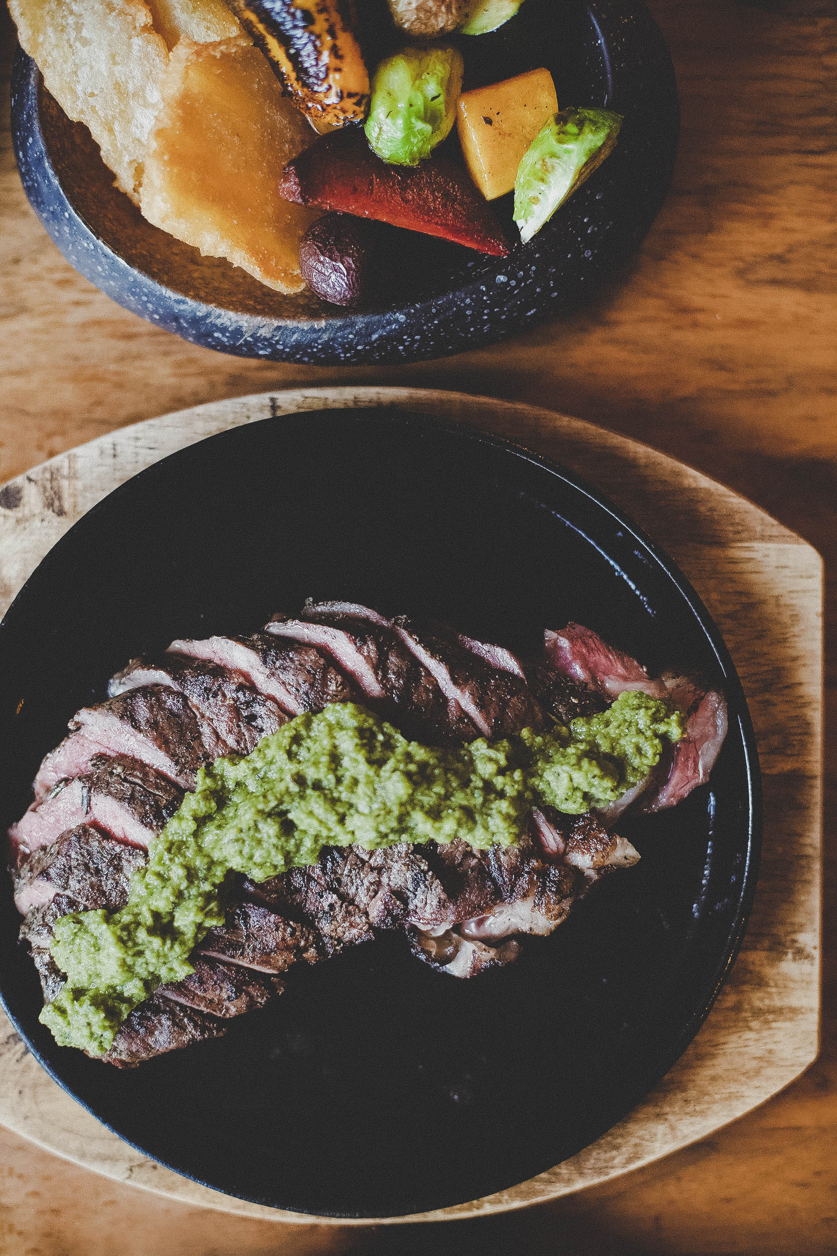 Beef Asado (Argentinian-style BBQ steak) and chimichurri.