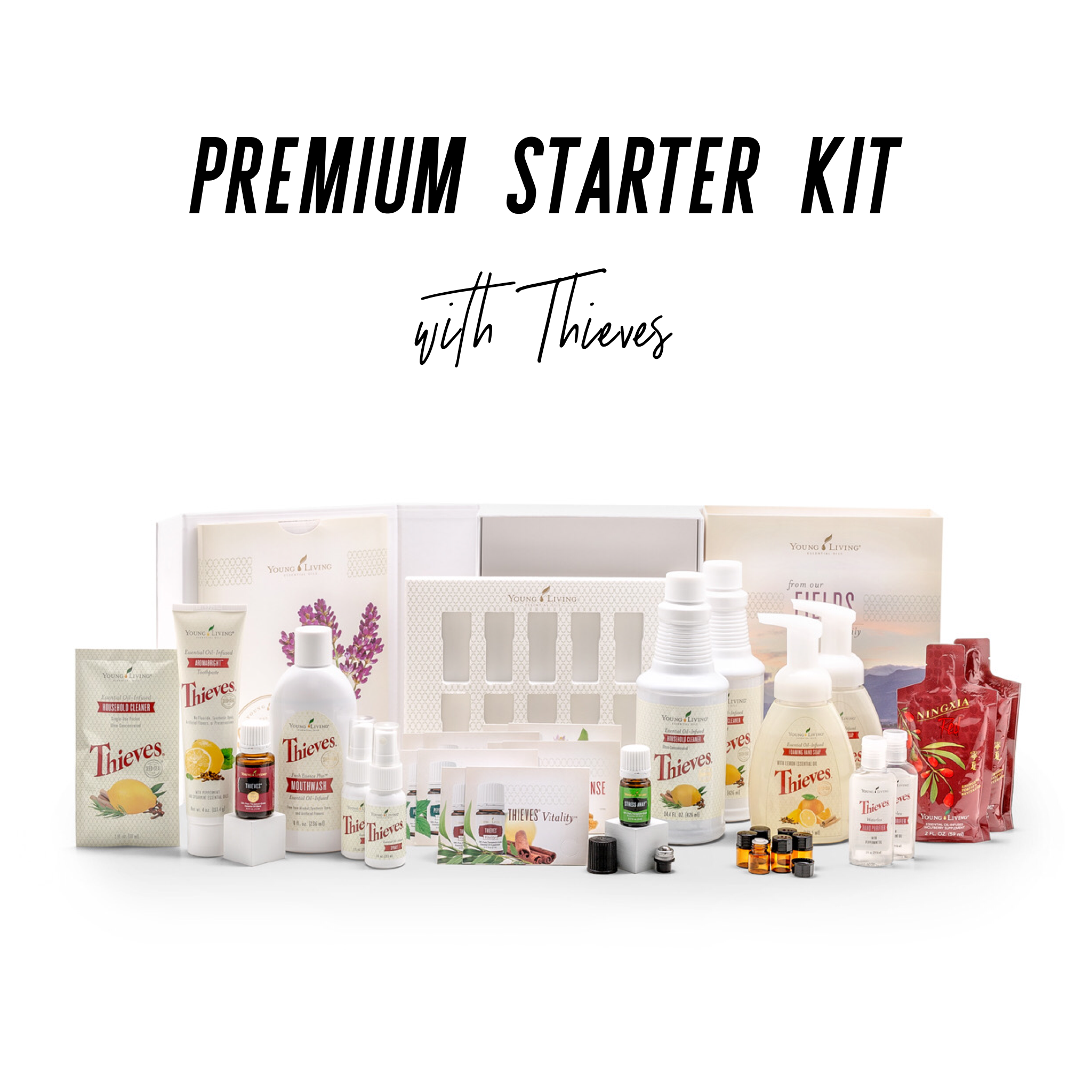 - Another part of your wellness journey is getting toxic chemicals out of our homes. There are so many chemicals in our every day products that are messing with our bodies in ways we don't even know. The Thieves starter kit is an all-inclusive way to ditch the chemical products in your home (like household cleaners), and start with using plant-based products. You also receive a bottle of Thieves and Stress Away essential oils to help you dip your toes into the essential oil world.