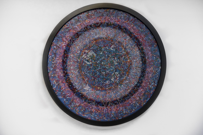 """Bharti Kher ,  Algorithm for a goodheadfuck , 2018, Bindis sur panneau peint, cadre, 58"""" x 2 3/4"""" (147,6 x 7 cm)"""