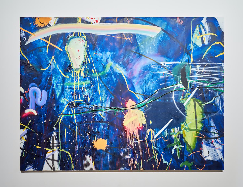 """Jennifer Lefort ,  Act 3 (of 5) , 2018, Huile et peinture en aérosol sur toile, 72"""" x 96"""" (182,9 x 243,8 cm)"""