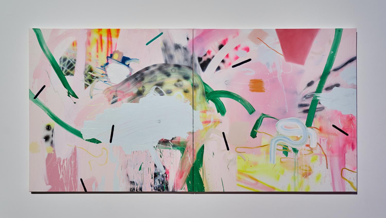 """Jennifer Lefort ,  Unavoidable Shifts , 2016, Huile et peinture en aérosol sur toile, 60"""" x 120"""" (152,4 x 304,8 cm)"""