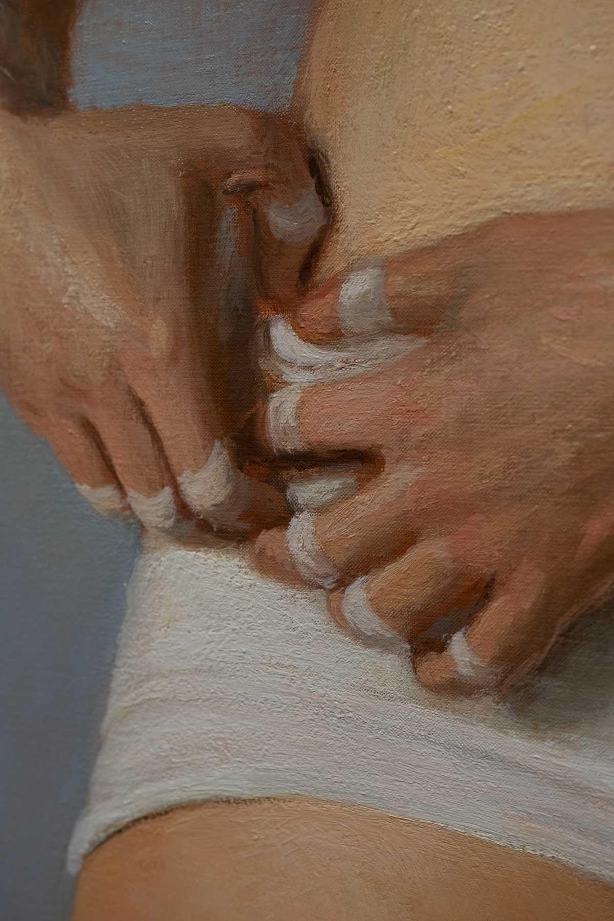 """Jansson Stegner ,  Untitled (White Shorts) , 2018, Huile sur toile, 48"""" x 24"""" (121,9 x 61 cm) (Détail)"""