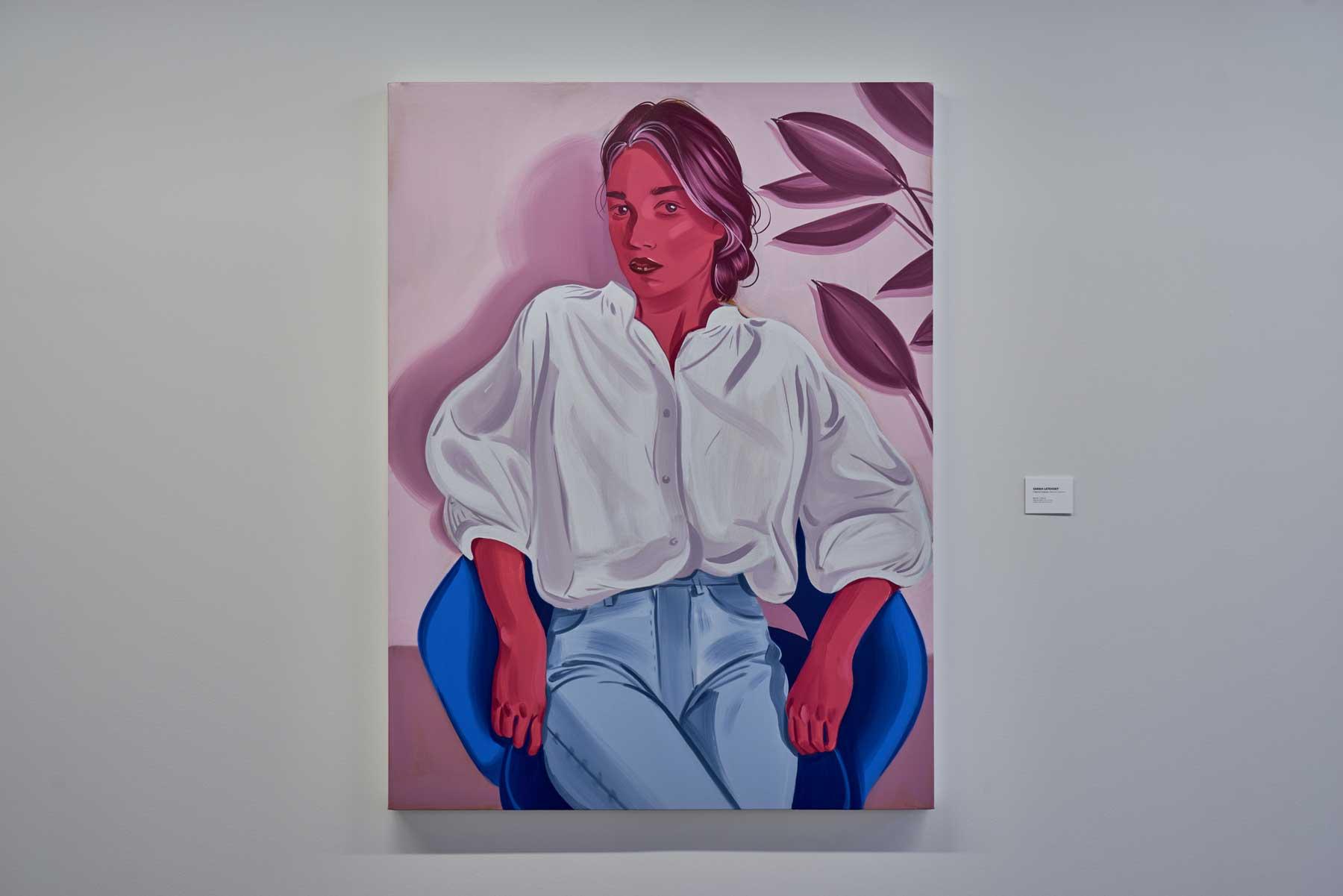 """Sarah Letovsky ,  Beatrice 2 , 2018-2019, Huile sur toile, 60"""" x 45"""" (152,4 x 114,3 cm)"""