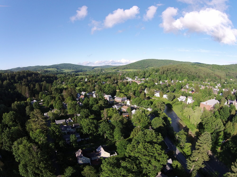An aerial view of Woodstock, VT