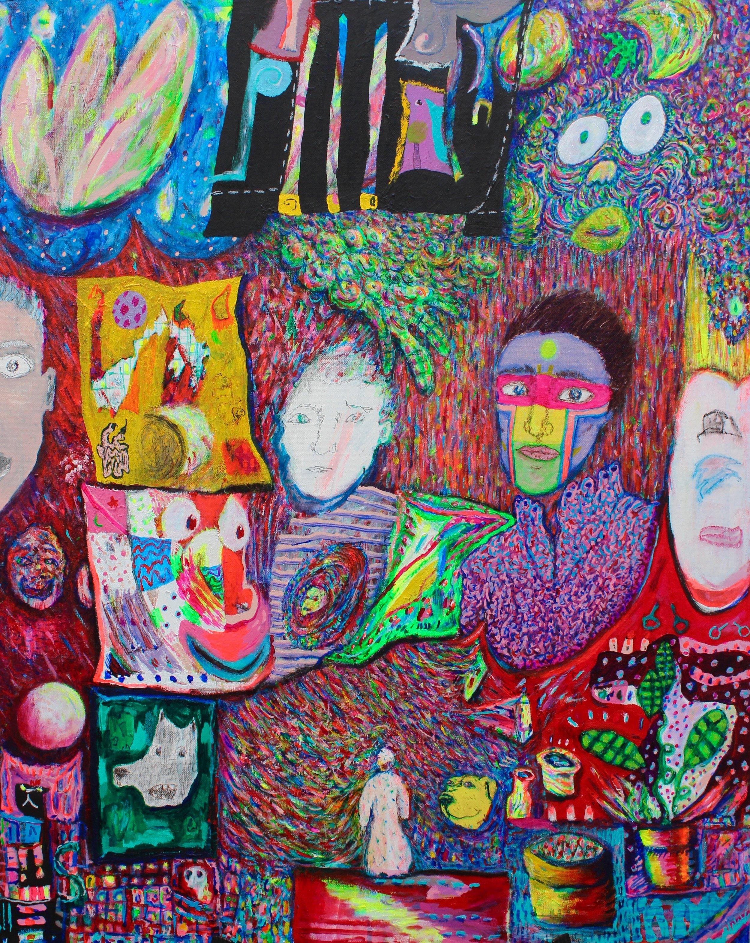 "Selves Portrait. 20"" x 30"" acrylic on canvas. 2018."