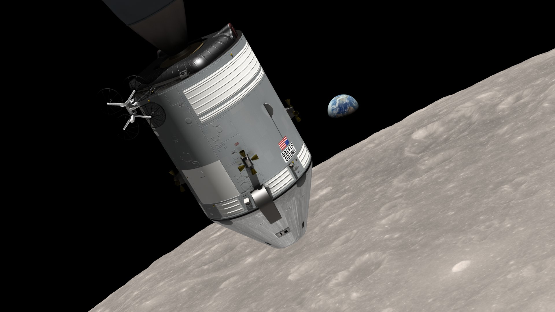 """- Artist's rendering of Apollo 8 and """"Earthrise"""""""