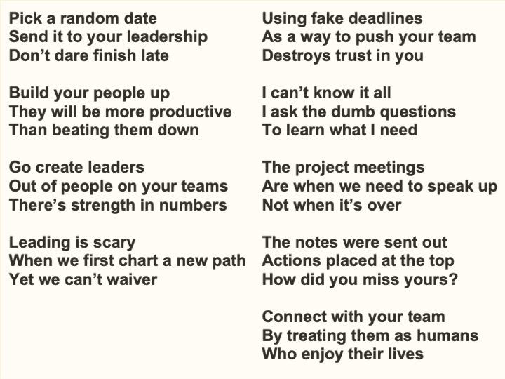 A sampling of Bob's Haikus.