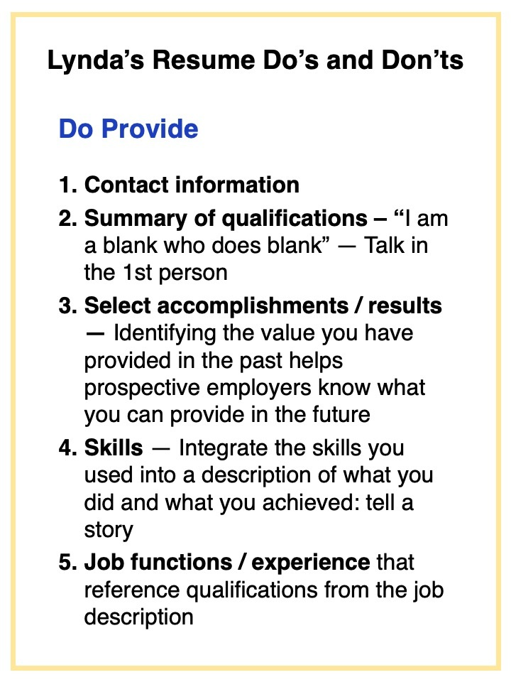 For Lynda's resume Don'ts, go    here.