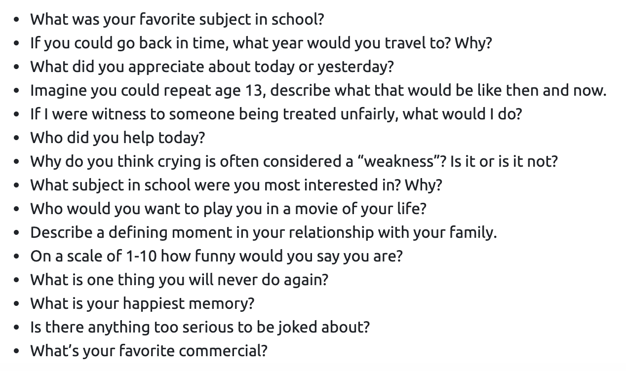 (click the image to enlarge it.) Sample questions that appear in the Uchi app.