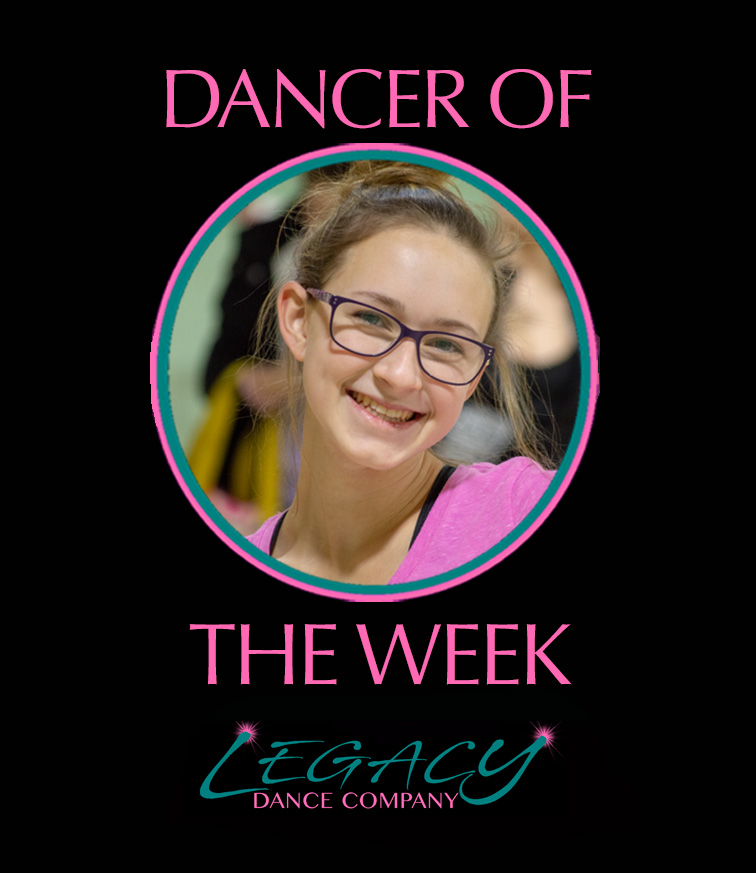 Our Legacy Dancer of the Week is Brooke!!  Brooke is in her 15th year of dancing and she loves being a part of the Legacy family where she gets to expand her knowledge of dance. She began teaching with us this year and Brooke just loves sharing her love of dance with our little ones. When not dancing, Brooke enjoys spending time with friends. Brooke loves working with kids and and strives to be a good influence on them. She looks to carry that love into a career in nursing within pediatrics or mother/baby.  Congrats Brooke!