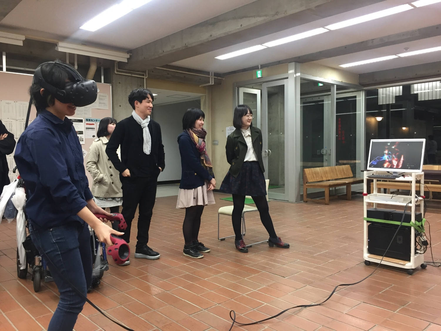 TUA students trying on Virtual Reality project by lecturer Hachiya Kazuhiko