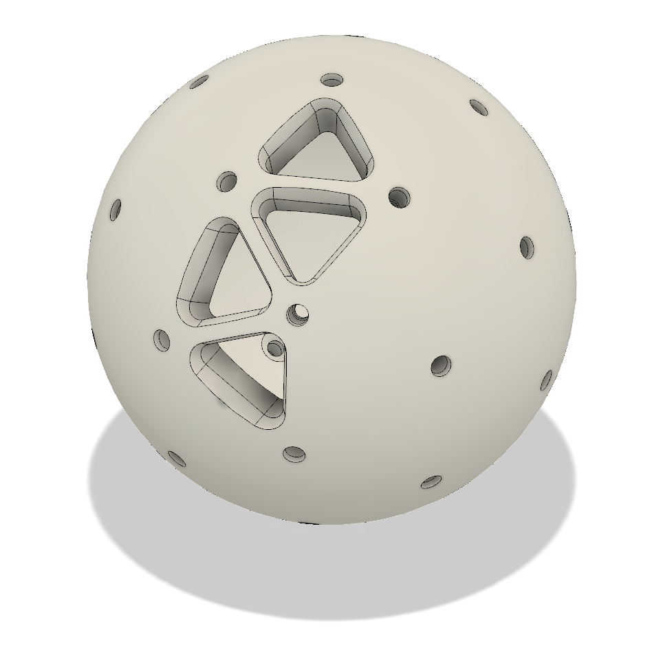 - I then made several cutouts to reduce the amount of material used and lighten the ball.