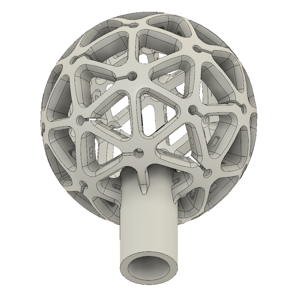 - To connect to the pole (same pool skimmer pole as last time) I extruded a cylinder out the bottom and blended it into the hub.