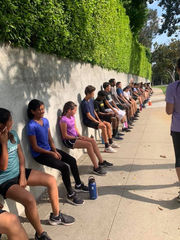 """""""Blair SRLA did hills and finished with some strength training today...they love wall sits 😆"""" - Veronica"""