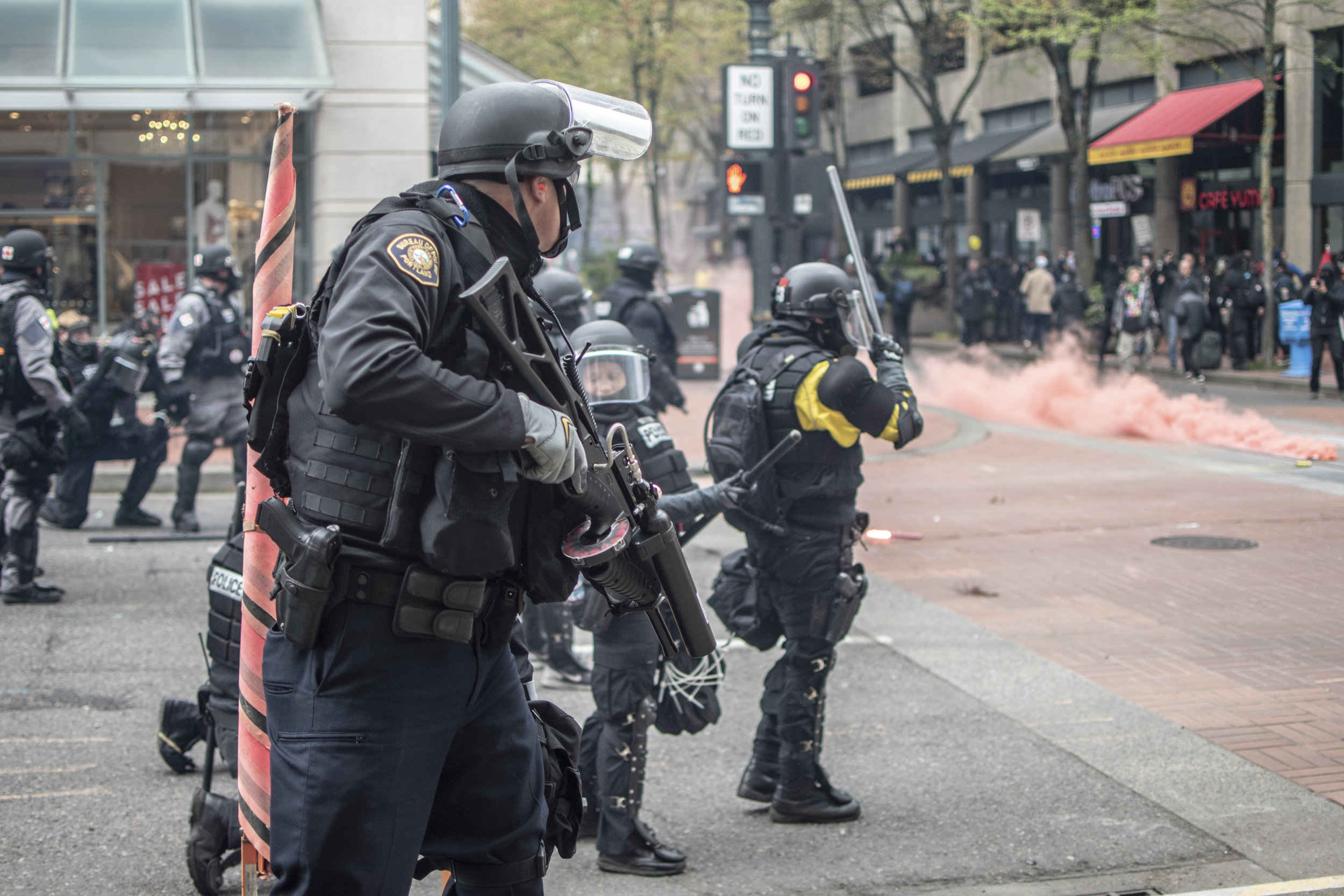 """Portland Mercury - """"May Day Chaos in Downtown Portland"""""""