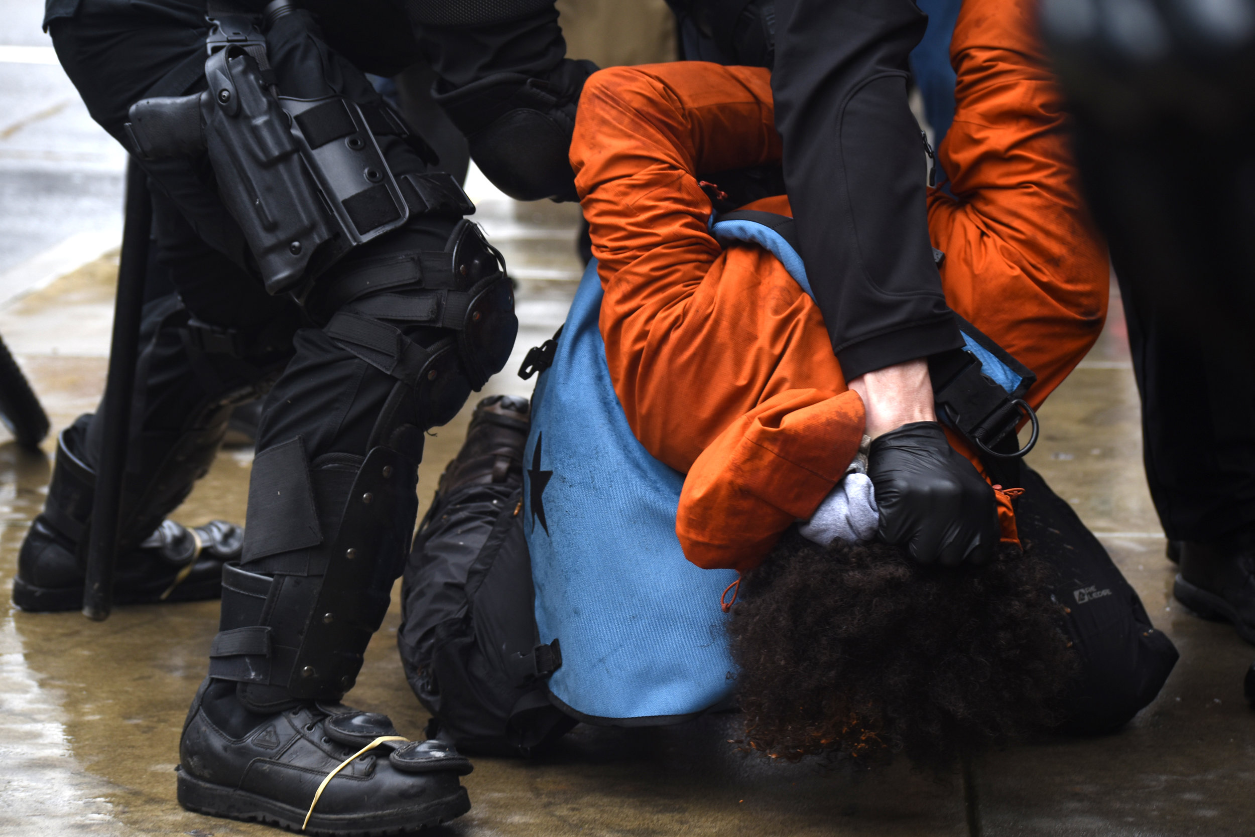 """Portland Mercury - """"Roughed UP: Portland Police Arrest 13 in Crackdown of """"Unpermitted"""" President's Day Protest"""""""