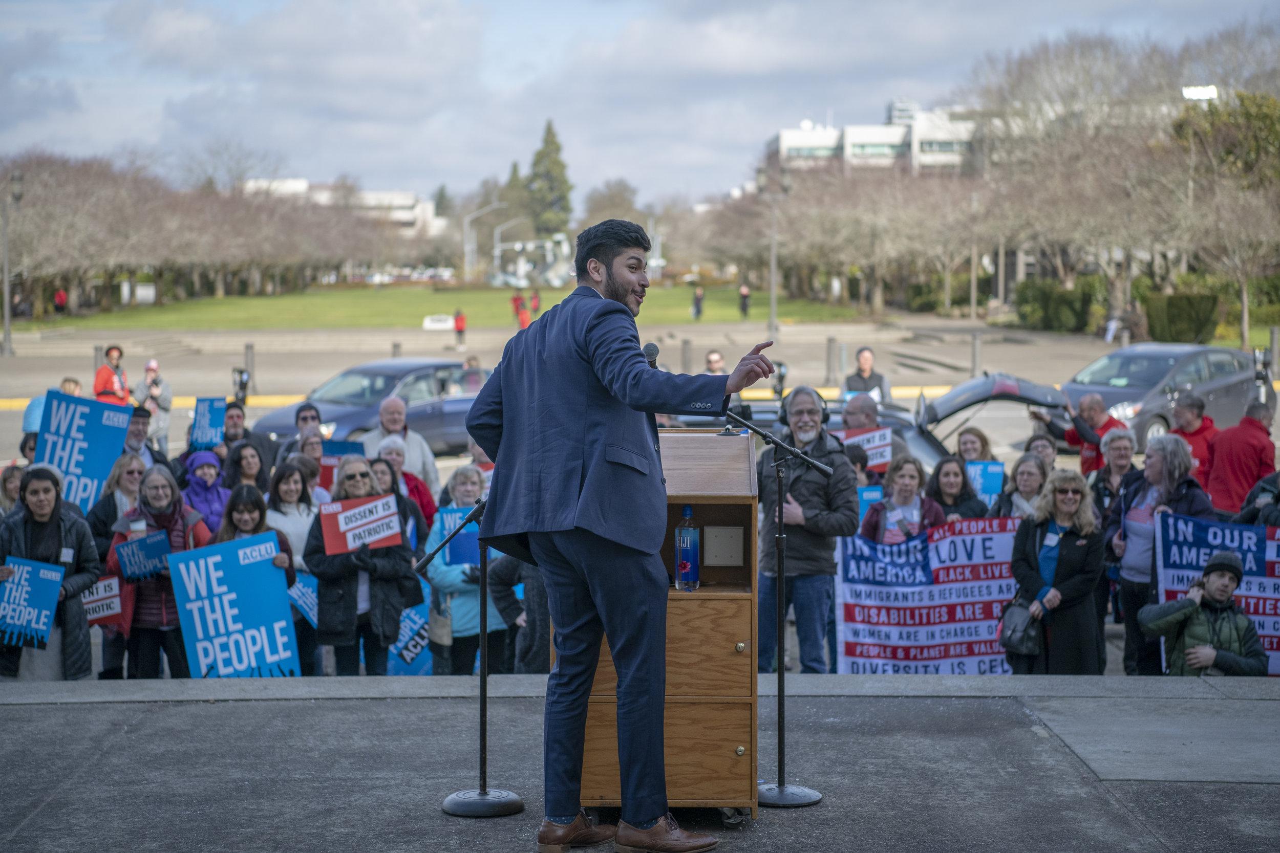 ACLU of Oregon Policy Associate Ricardo Lujan at the 2019 Lobby Day — Salem, OR