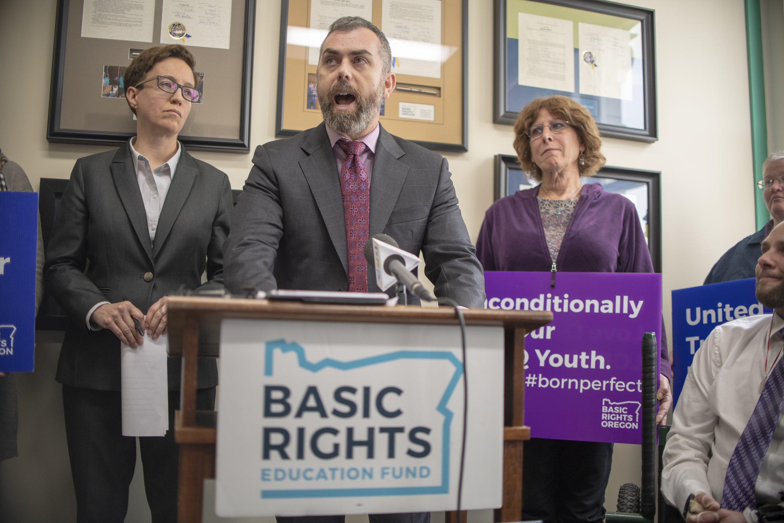 ACLU of Oregon Legal Director Mat dos Santos speaks at a press conference for trans rights in the Basic Rights Oregon office — Portland, OR