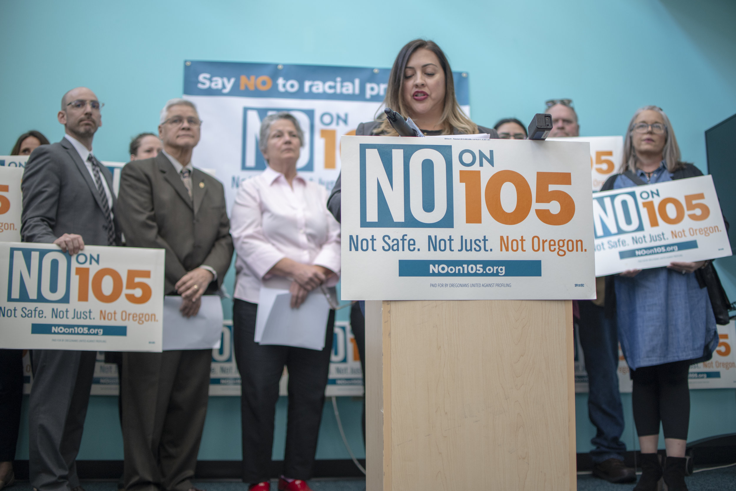A press conference fighting against the anti-immigrant Measure 105 — Portland, OR