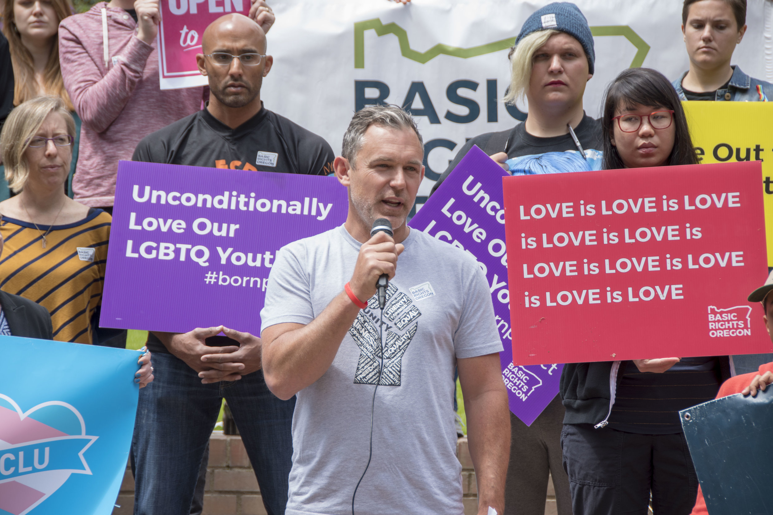 A rally for LGBTQ rights — Portland, OR