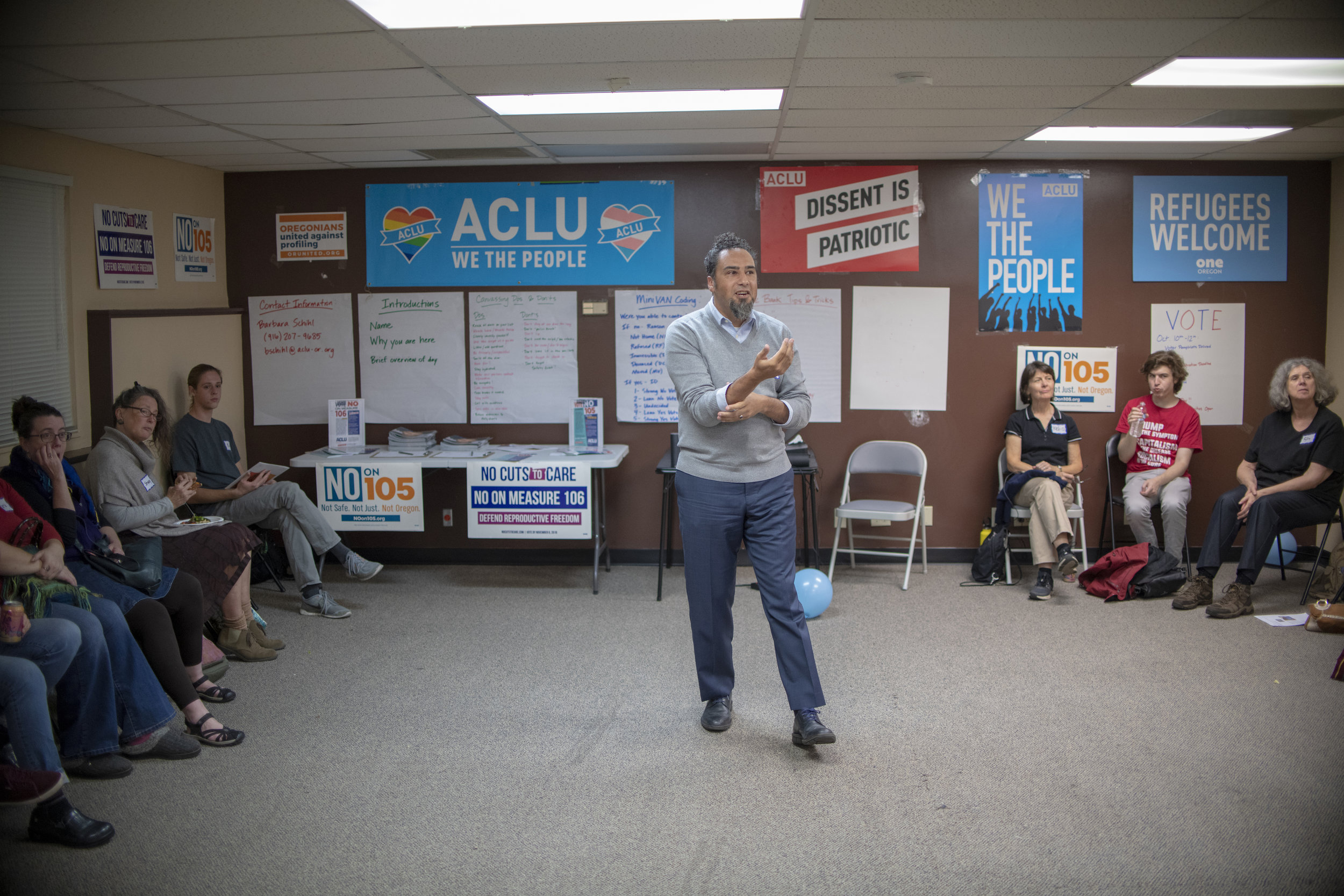 ACLU of Oregon Executive Director david rogers at a No on 105 campaign rally , fighting for immigrant rights— Eugene, OR