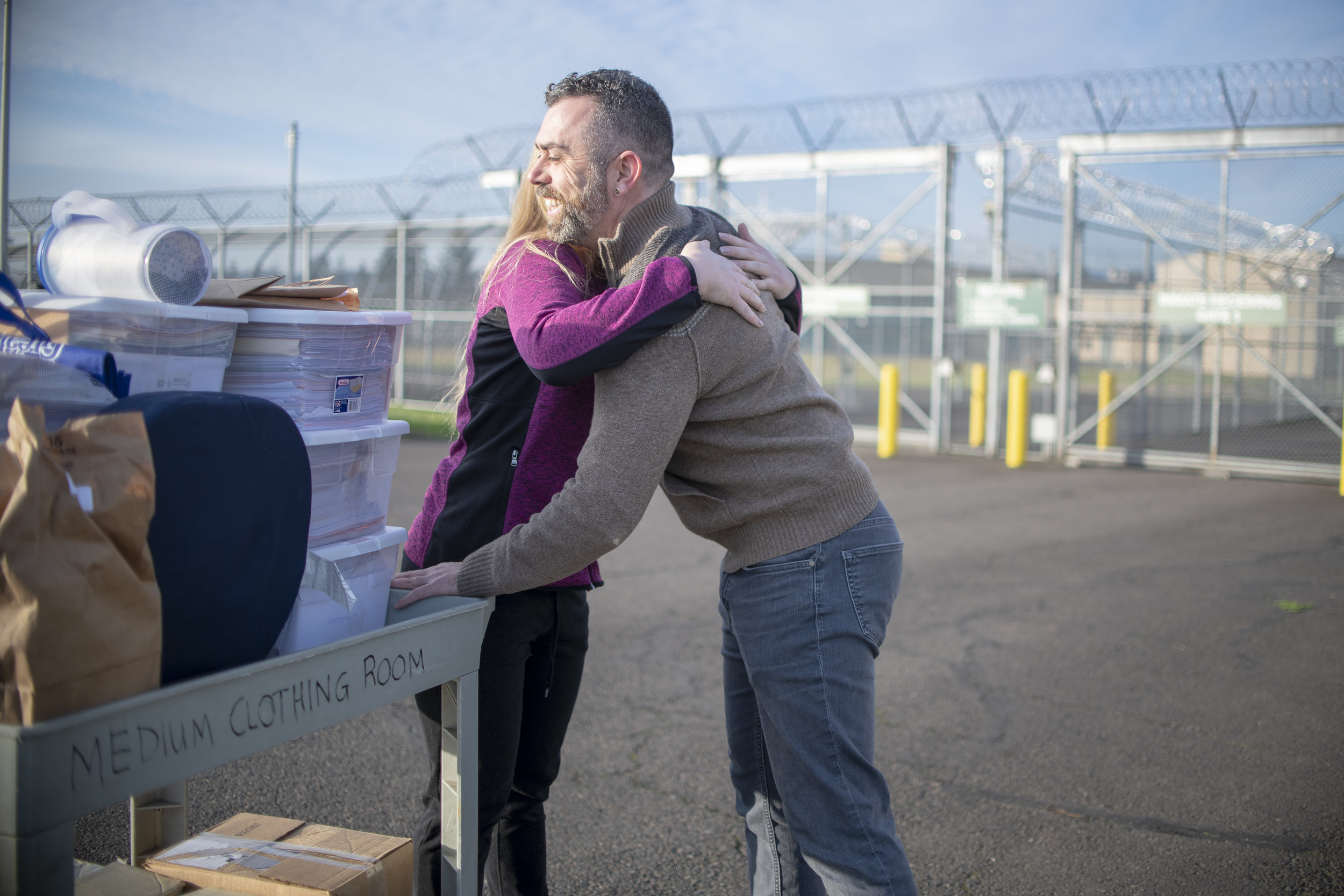 ACLU of Oregon client Michalle Wright greeted by legal director Mat dos Santos after her release from Coffee Creek Correctional Facility — Wilsonville, OR