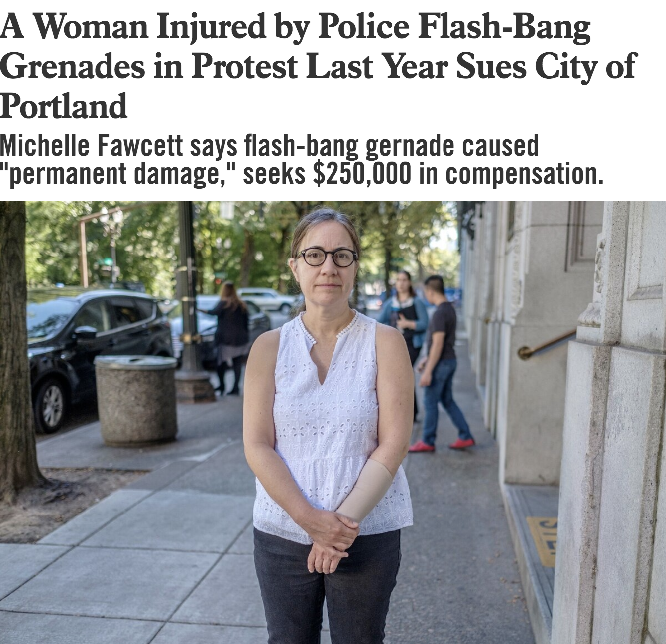 """Willamette Week : """" A Woman Injured by Police Flash-Bang Grenades in Protest Last Year Sues City of Portland """""""