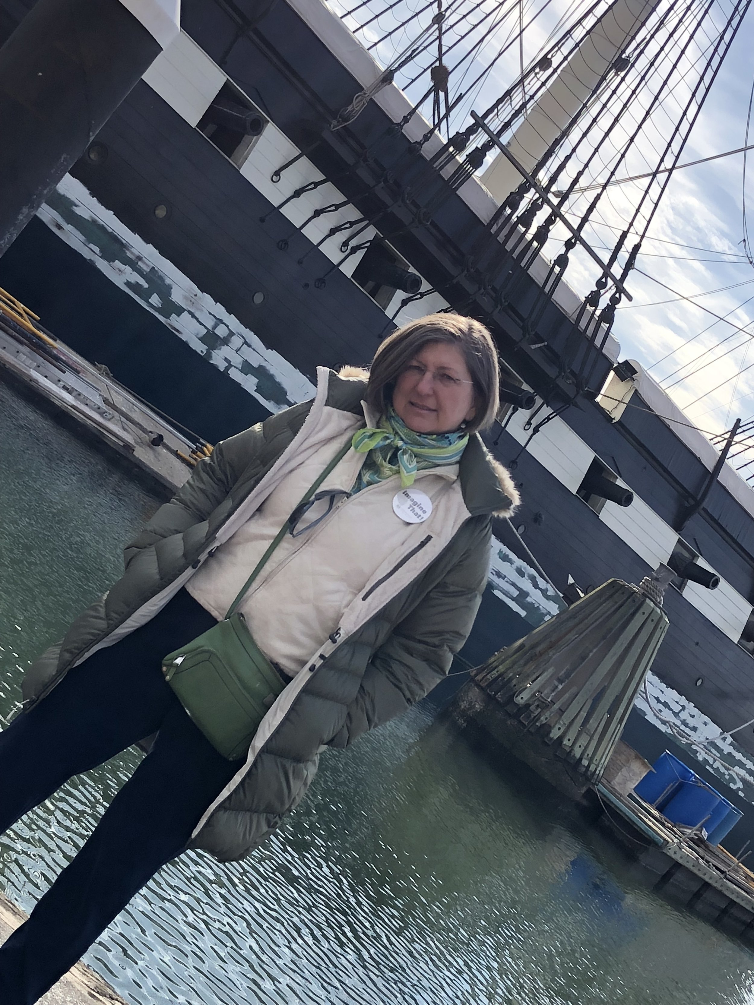 Anne Markham Bailey at her great grandfather's ship, the USS Constellation, in Baltimore Harbor.