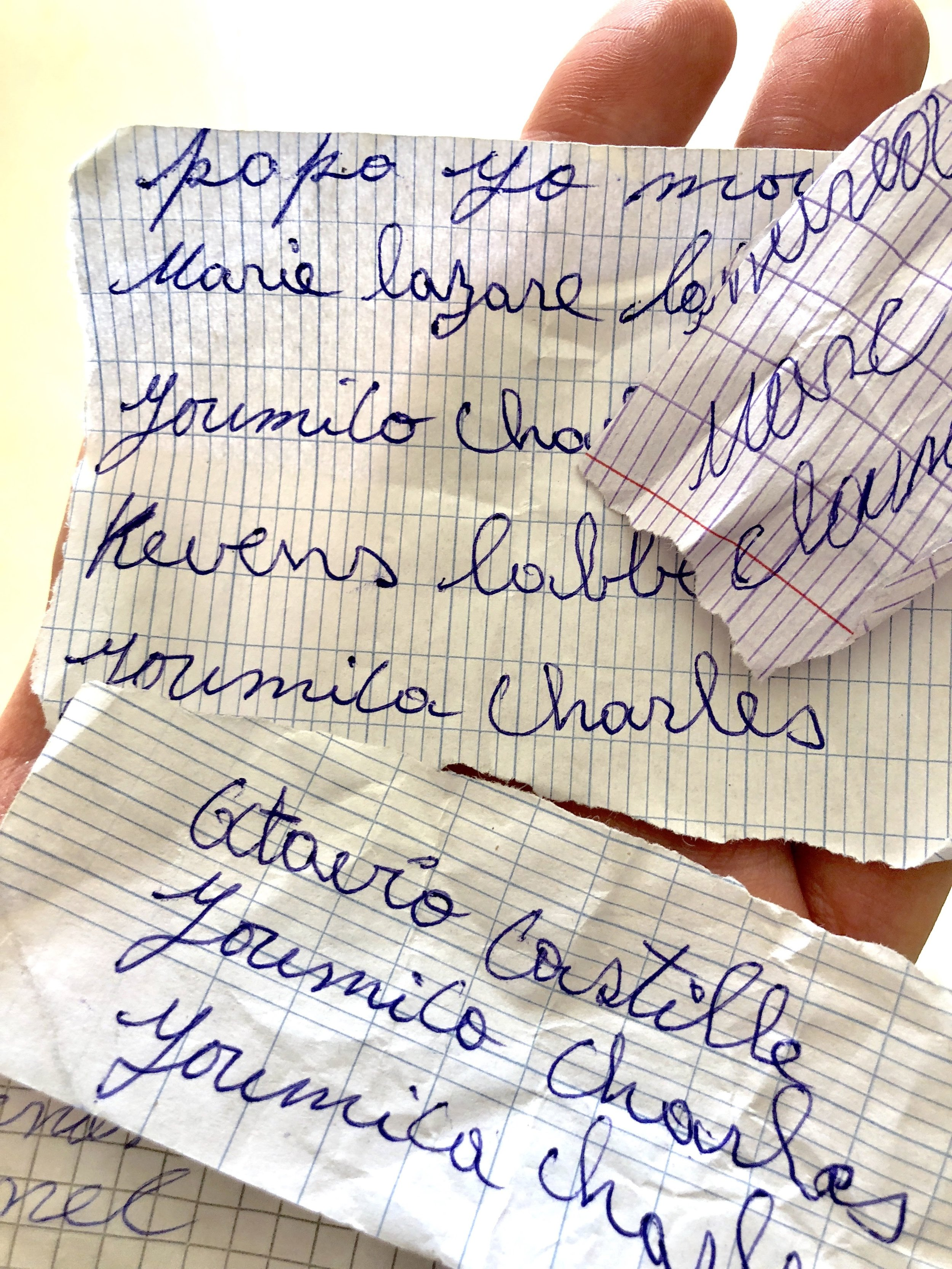 Notes of hope - Each year when we're in Haiti, parents hand us hundreds of tiny handwritten notes with the names of their children. Each is a wish to be added to our program for a chance to go to school. With your help, we can make these dreams come true.