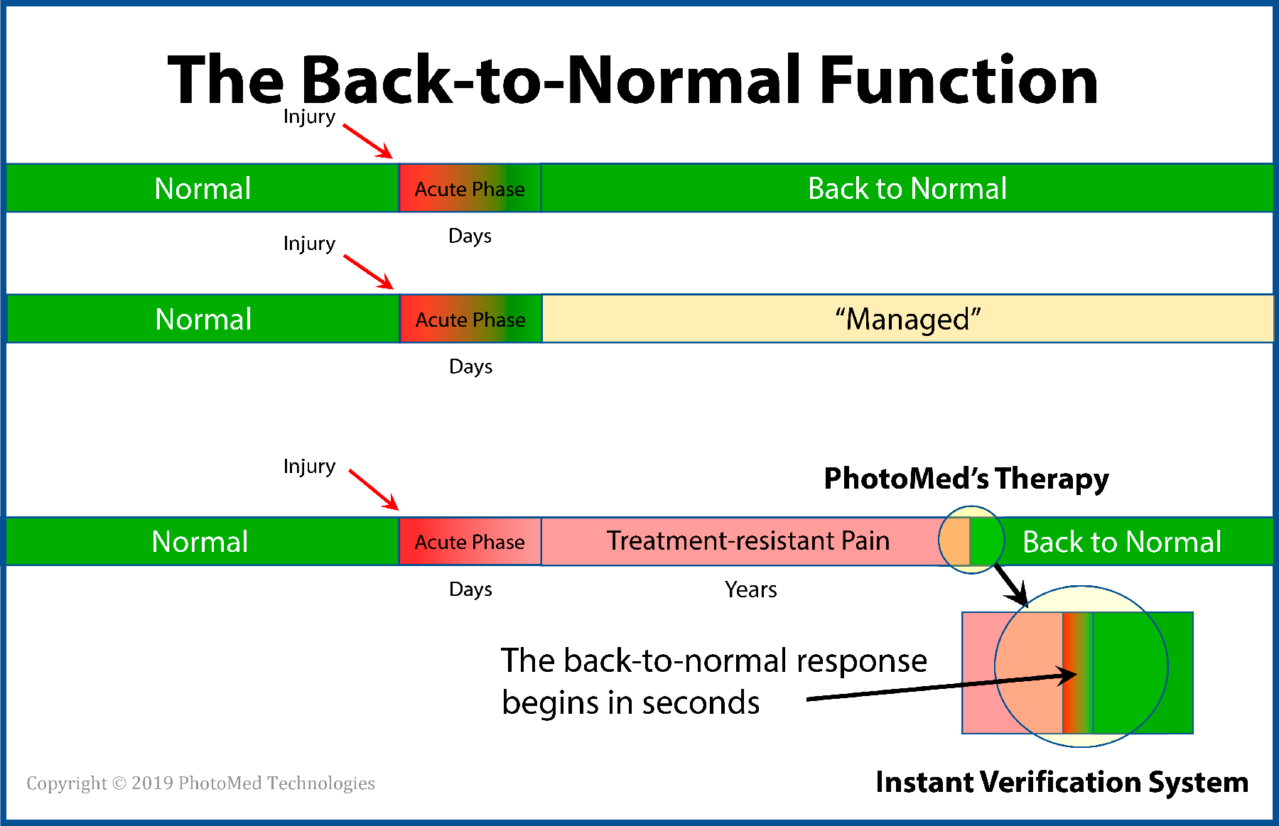 "Figure 1  - The Instant Verification System helps the operator prompt and record physiological responses that may predict later benefit. Real-time data simplifies verification of unexpected outcomes. The System measures TIME in milliseconds for comparing details of events. Would ""by-the-visit"" granularity miss details of the patient's return back-to-normal function?"