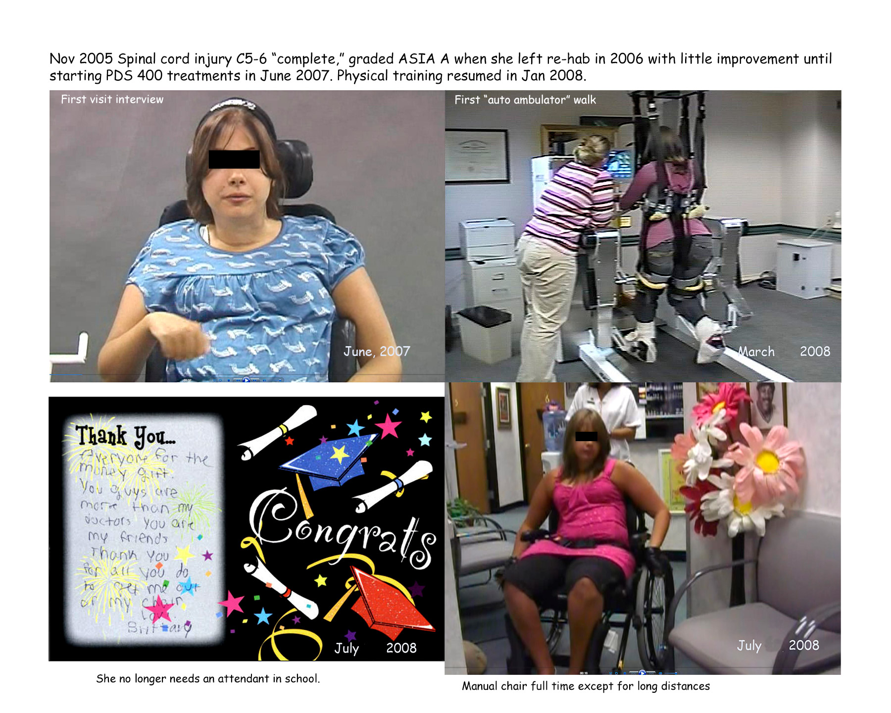 "Figure 1  - ""Barbara"" responded to PhotoMed's then experimental therapy during her first visit. Her improvements overcame her ""plateau"" to enable her to return to physical therapy. She hand-wrote a thank you note as she gained more independence. At one year, Barbara transitioned to using a manual wheelchair."