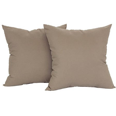 """Mainstays Microfiber Twill Accent Decorative Throw Pillow, 17"""" x 17"""", Brownstone, 2 Pack"""