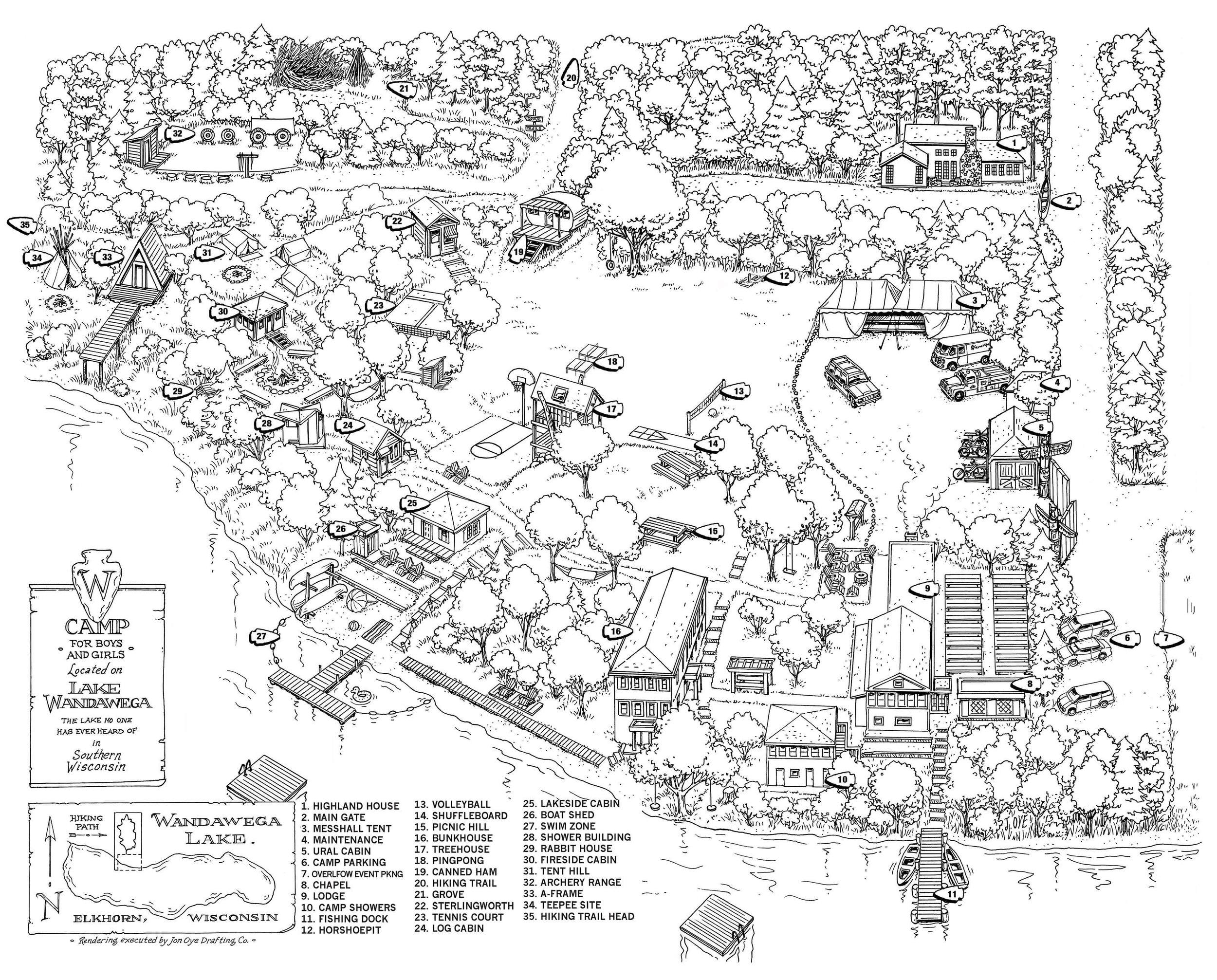 Map of Camp Wandawega. Image via  www.wandawega.com