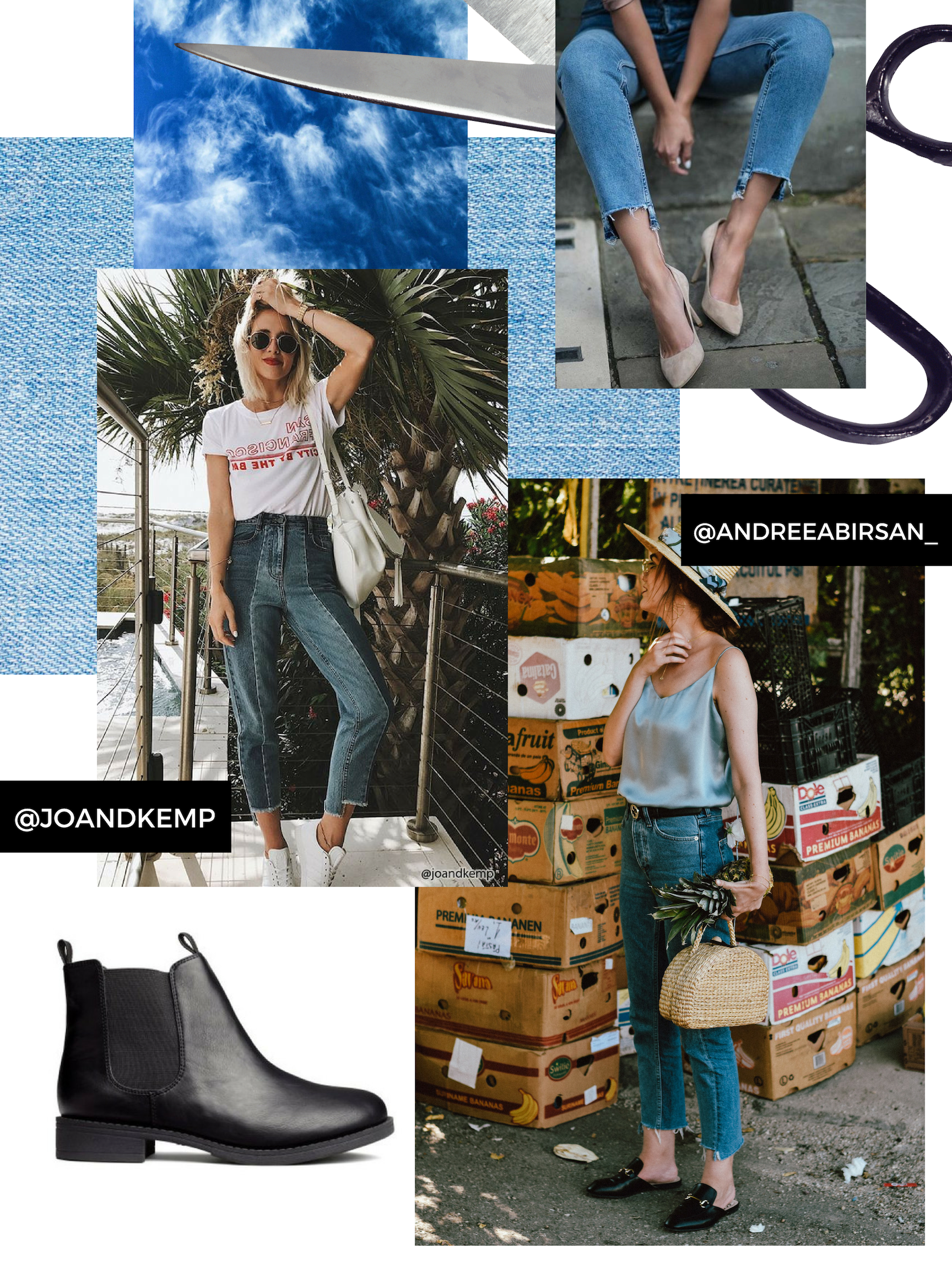 Mood board I created featuring some rockin' step hem jeans, boots I would love to wear with mine and other pretty things.