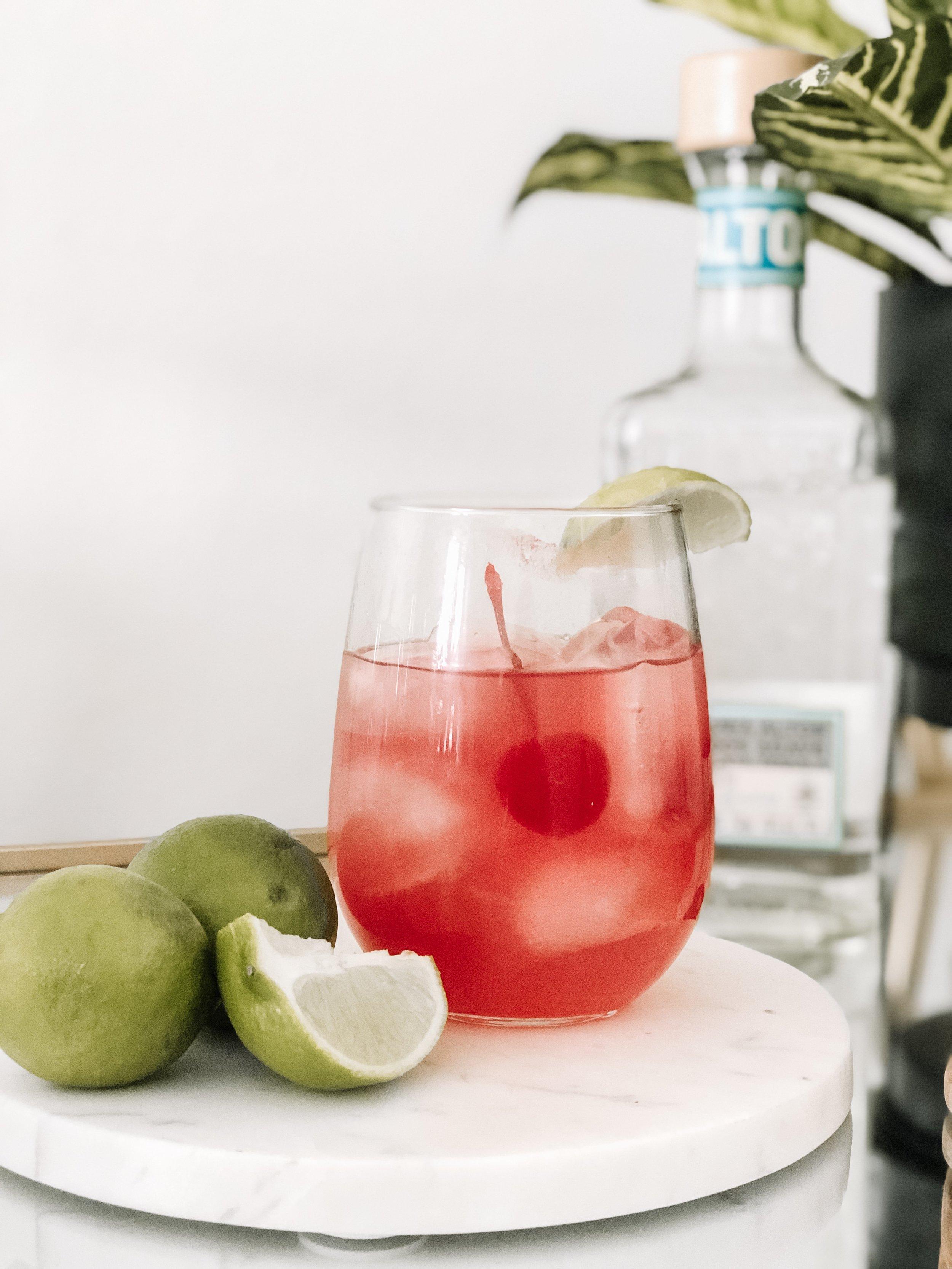 4 Ingredient Maraschino Margaritas Valentine's Day Cocktail