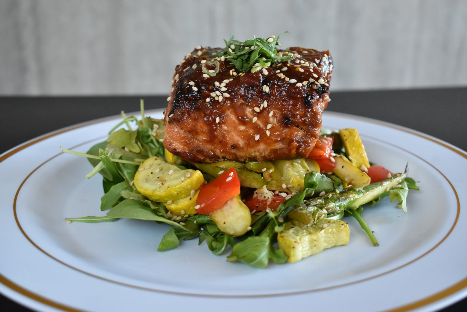 GINGER-SESAME GLAZED SALMON