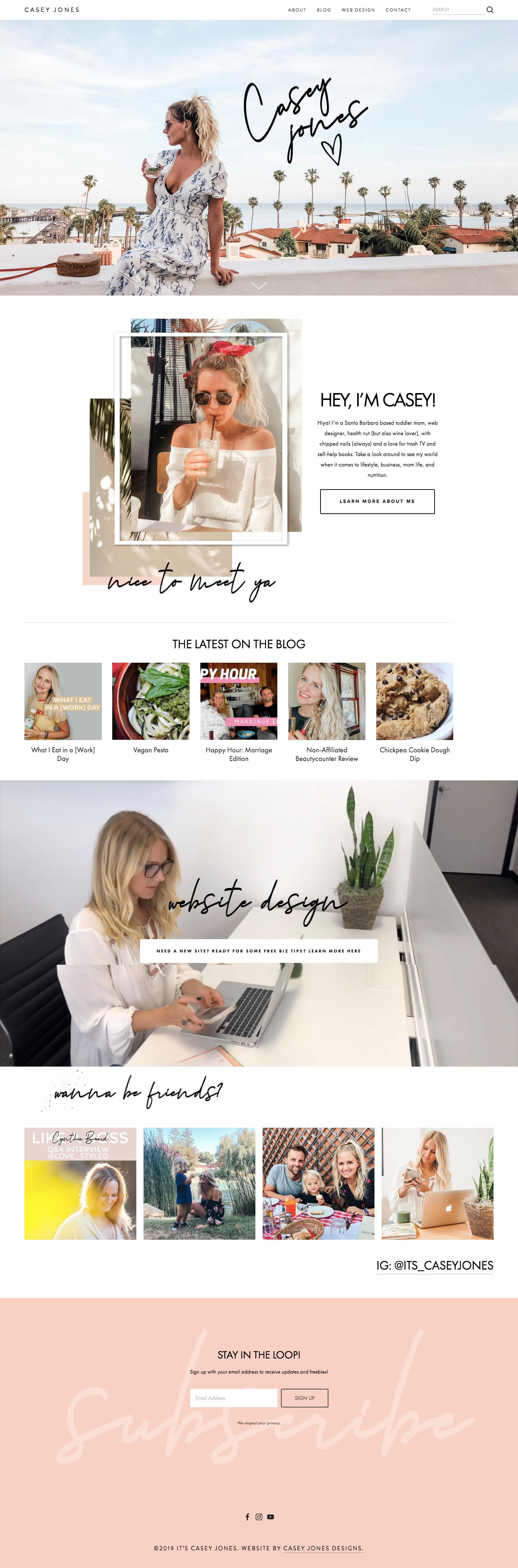 Lifestyle blog custom Squarespace design by Casey Jones Designs
