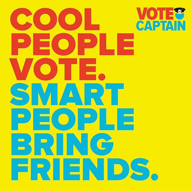 Being cool is great and all, but being smart is better! Your community magnifies it's voice when you help friends and family learn about the races and get to the polls. We've got local races happening all over the nation so keep a lookout! #beavotecaptain #yourvotematters #vote2019