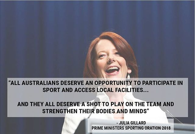 Julia Gillard, our first orator, talking about funding for grassroots sport at the Prime Ministers' Sporting Oration tonight 🌱🌱
