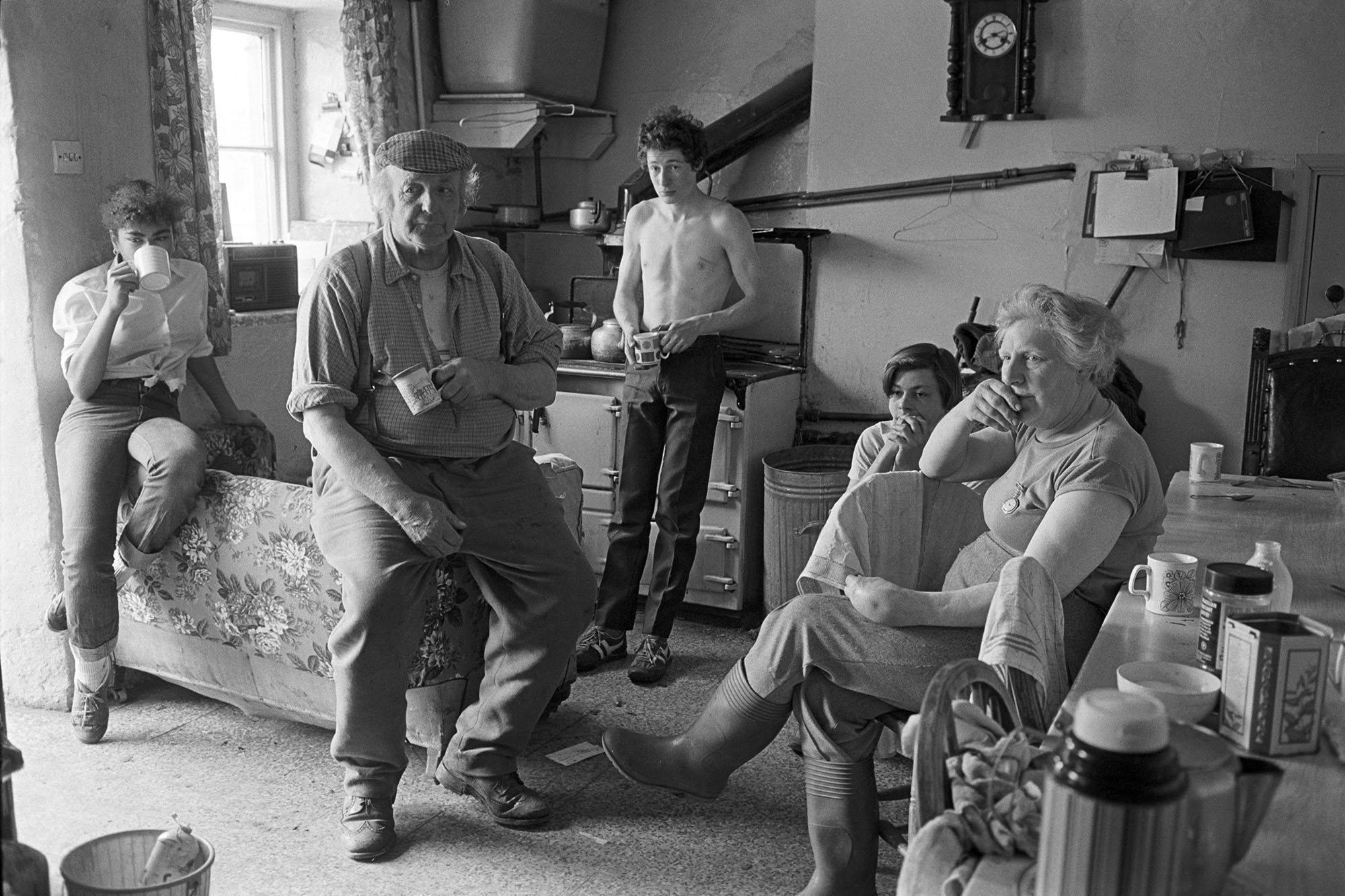 Dick French & family watching the Cup Final, Brendon Barton, Exmoor,1985