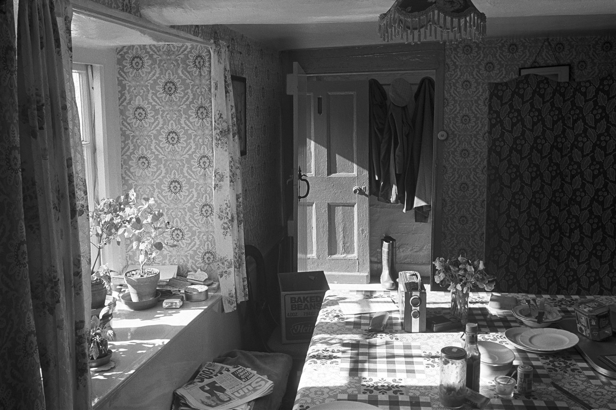 Cottage kitchen in sunlight, Mariansleigh, 1985