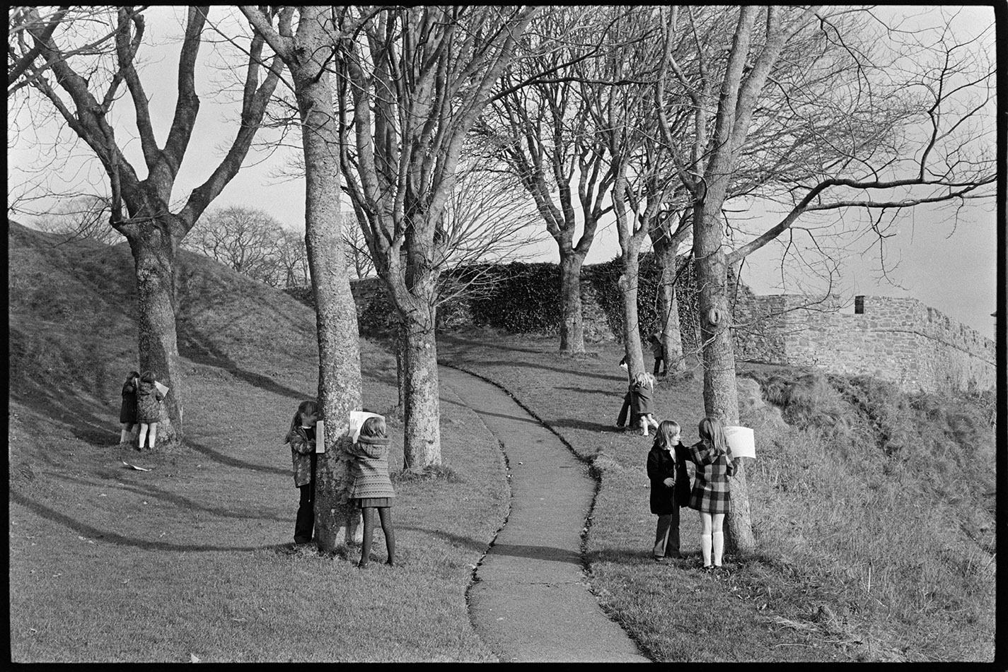 Primary School children doing bark rubbing on trees in park, Torrington, 4 November, 1974.