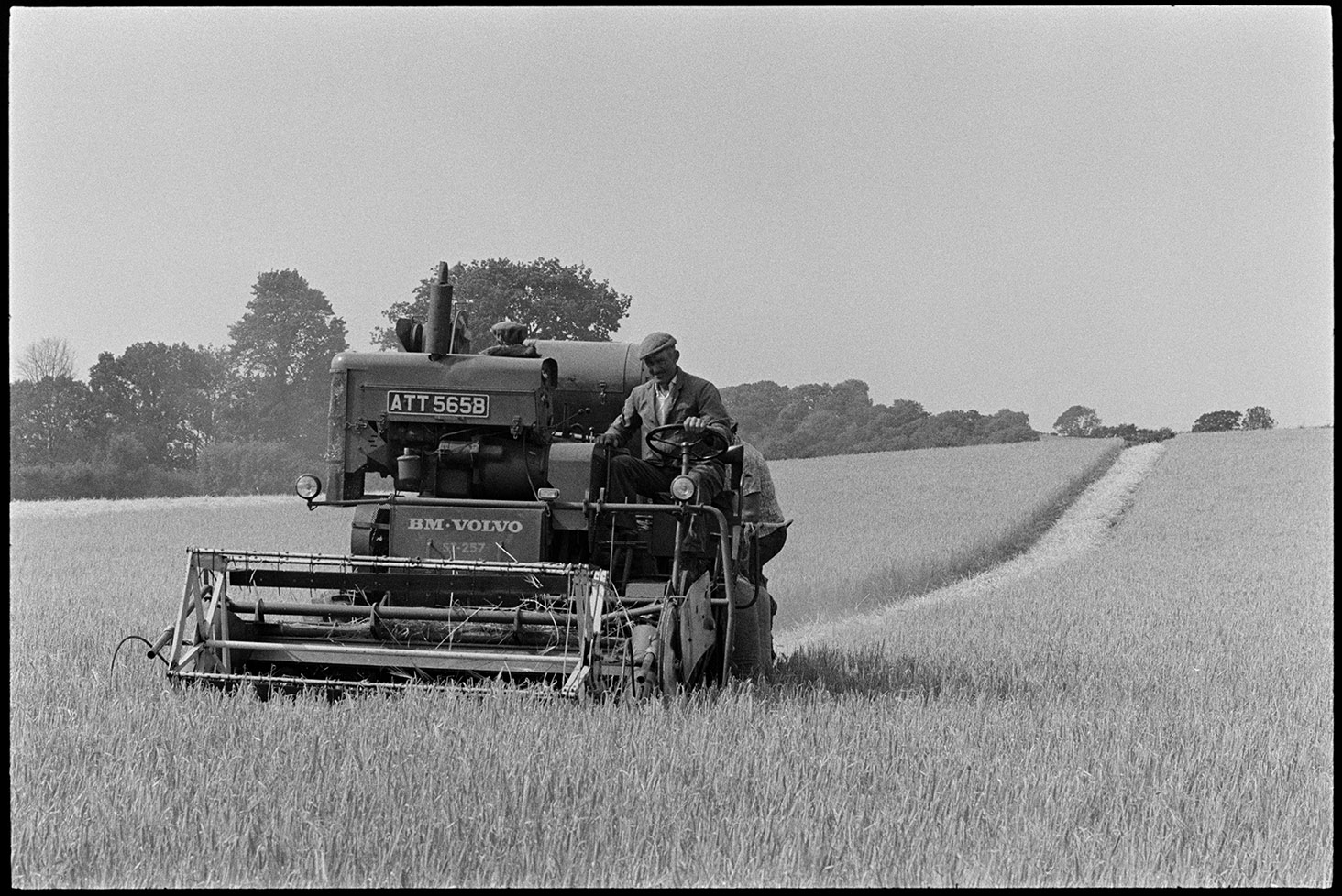 Loading sacks of corn from combine harvester, Iddesleigh, Parsonage, August 1976. Documentary photograph by James Ravilious for the Beaford Archive © Beaford Arts
