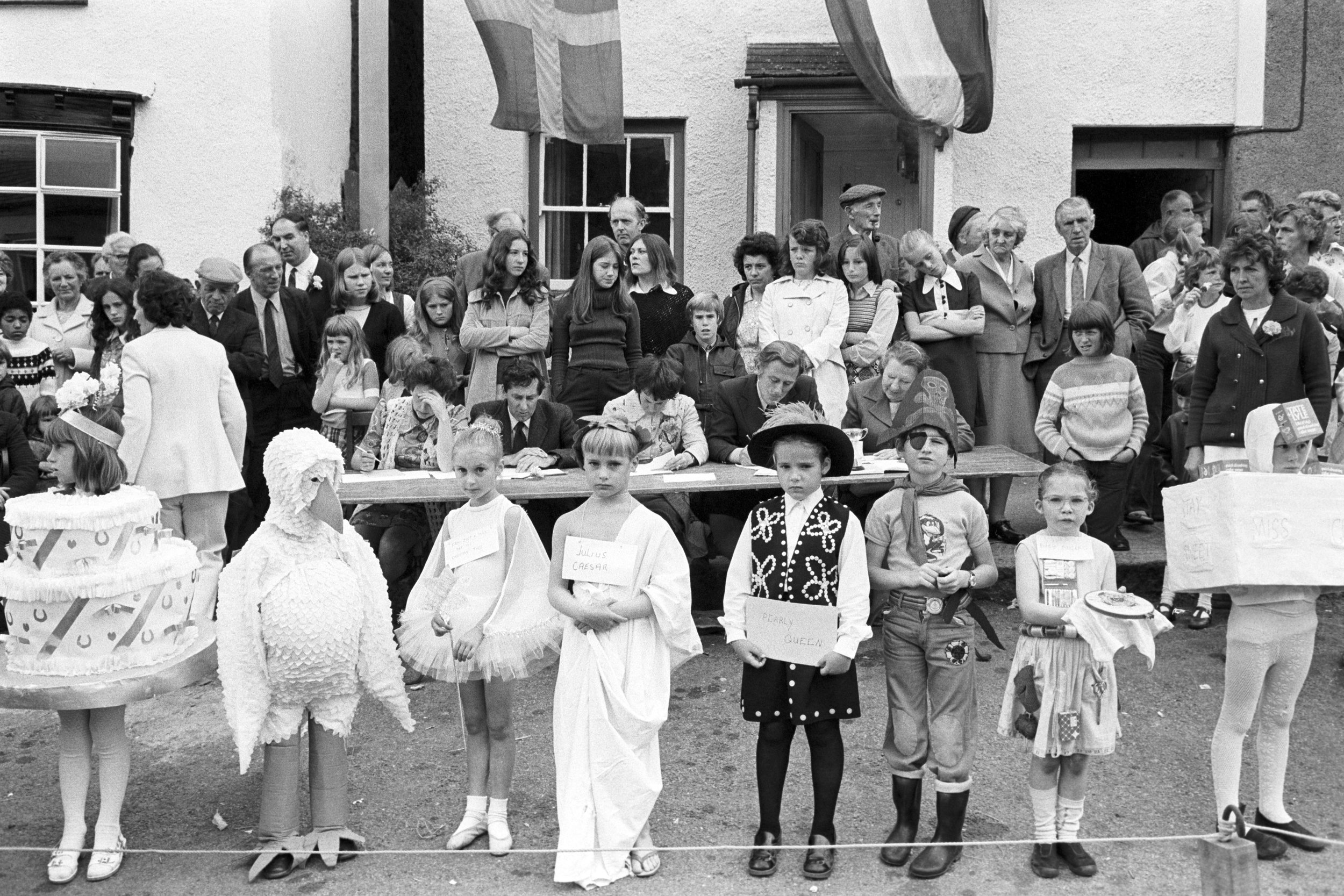 Fancy dress parade at village fair, Winkleigh, 20 July 1974