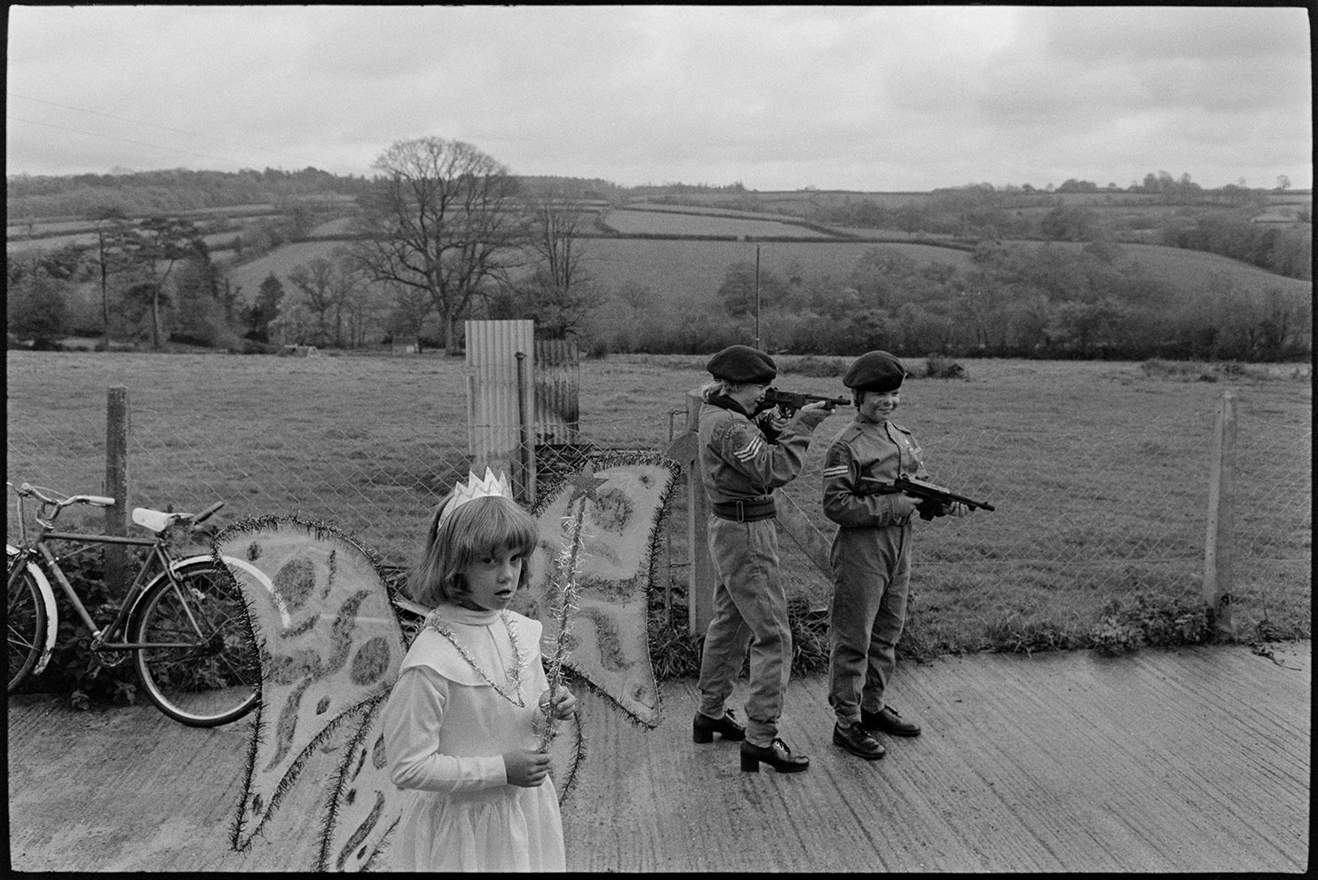 Children in fancy dress - fairy and soldiers, Dolton, October 1975