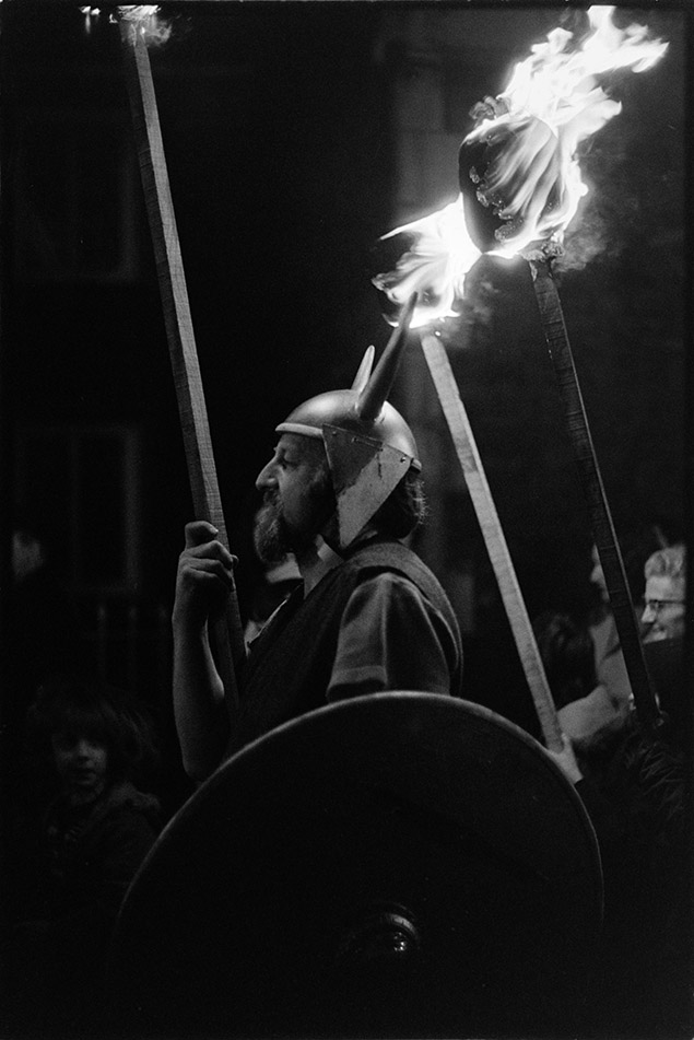 Viking torch bearer, Torrington Fair, 2 November 1974