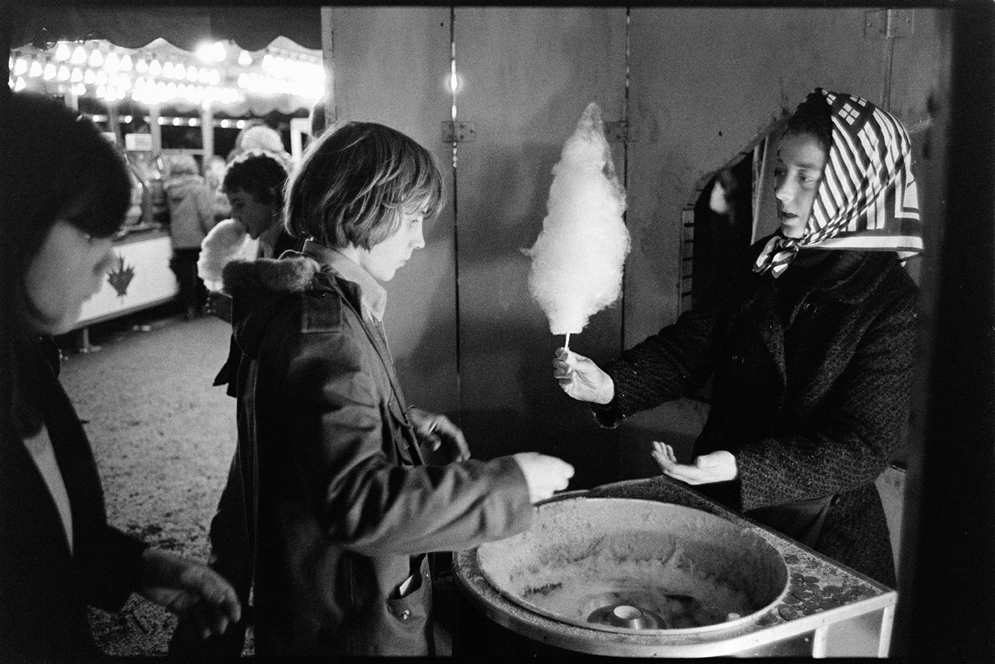 Woman selling candy floss, Torrington Fair, 2 November 1974