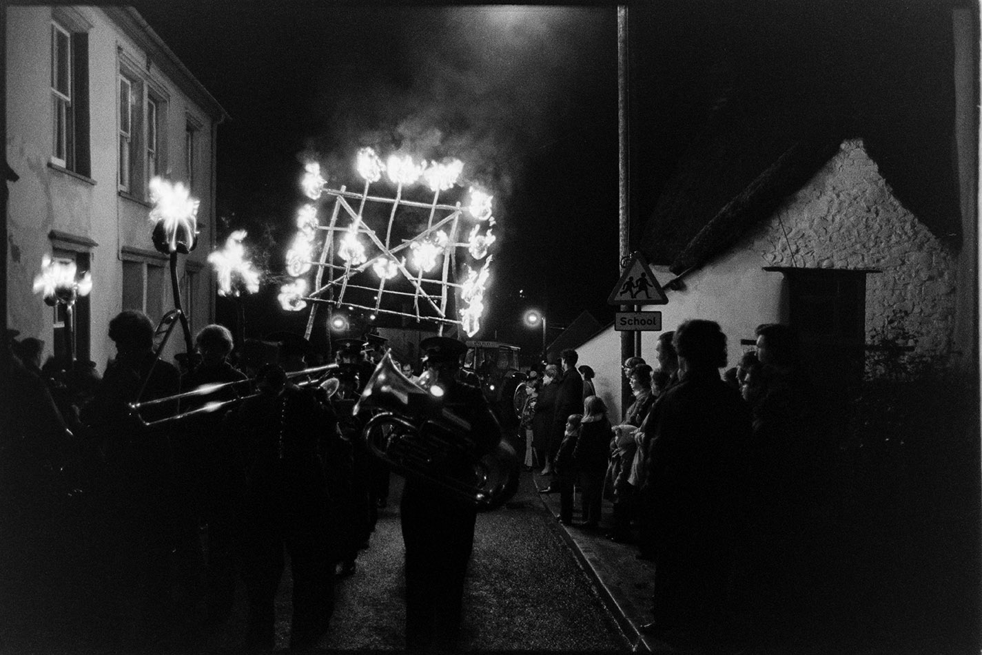 Carnival procession at night with burning torches, Hatherleigh, 6 November 1974