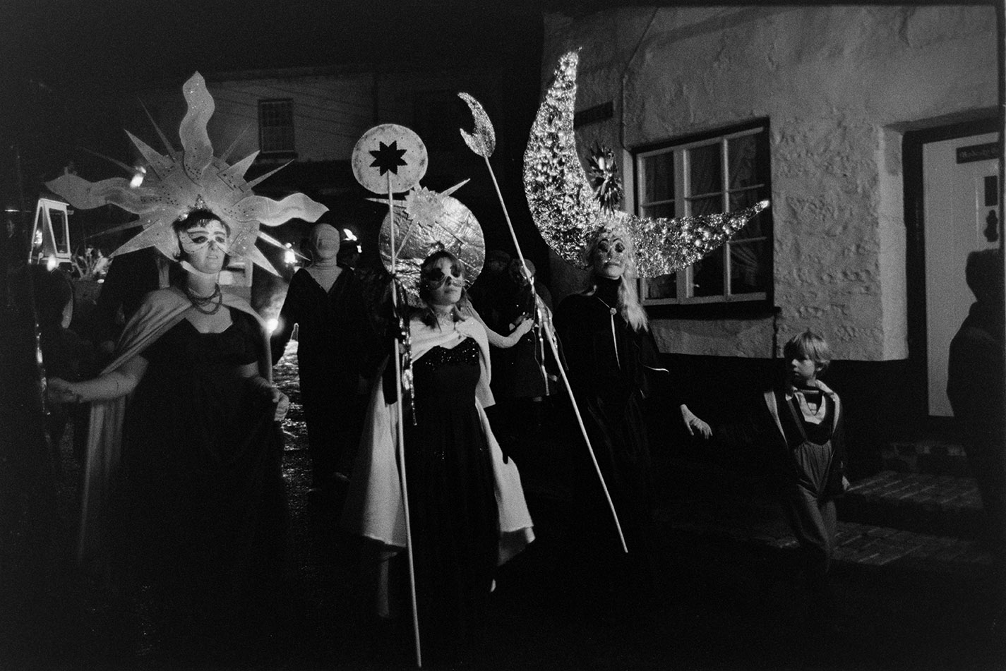 Carnival parade, women dressed as constellations, Hatherleigh, 6 November 1974