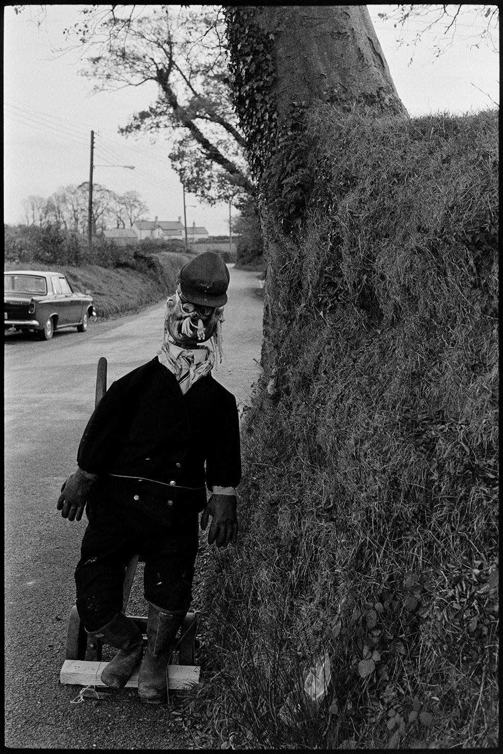 Guy in village street - Guy Fawkes, Ashreigney, October 1975